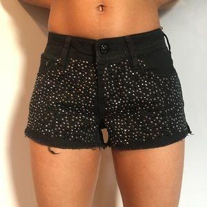 Pants - Black Icey Denim Shorts.